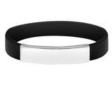 Black Rubber Bracelet in Sterling Silver