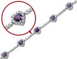 Synthetic Amethyst and Synthetic Cubic Zirconia Heart Bracelet in Sterling Silver