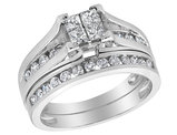 Princess Cut Diamond Engagement Ring & Wedding Band Set 1.0 Carat (ctw) in 14K White Gold