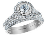 Diamond Engagement Ring & Wedding Band Set 1.25 Carat (ctw) in 14K White Gold