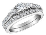 Three Stone Diamond Engagement Ring & Wedding Band Set 1.5 Carat (ctw) in 14K White Gold