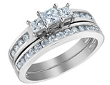 Princess Cut Three Stone Diamond Engagement Ring & Wedding Band Set 1.0 Carat (ctw) in 14K White Gold