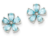Blue Topaz Flower Earrings in Sterling Silver