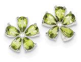 Green Peridot Flower Earrings in Sterling Silver