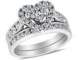 Diamond Heart Engagement Ring & Wedding Band Set 1.00 Carat (ctw) in 14K White Gold