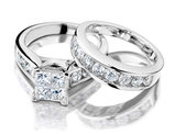 Princess Cut Diamond Engagement Ring and Wedding Band Set 1 Carat (ctw) in 14K White Gold