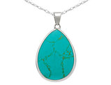 Turquoise Teardrop Pendant Necklace in Sterling Silver with Chain