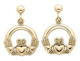 Claddagh Earrings in 14K Yellow Gold