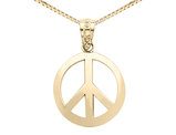 Peace Sign Pendant Necklace in 14K Yellow Gold with Chain