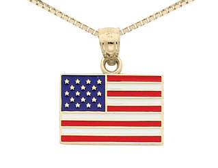 American Flag Pendant Necklace in 14K Yellow Gold with Chain