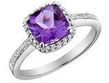 Amethyst Ring with Diamonds 1.65 Carat (ctw) in 14K White Gold
