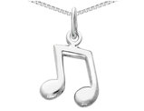 Music Note Pendant Necklace in 14K White Gold with chain