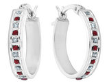 Ruby and Diamond Hoop Earrings 1/7 Carat (ctw) in Sterling Silver
