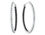 White and Black Diamond Oval Hoop Earrings in 14K White Gold (1 1/3 Inch)