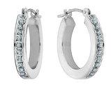 Diamond Hinged Hoop Earrings in 14K White Gold (2/3 Inch)