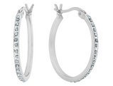 Accent Diamond Round Hoop Earrings in Sterling Silver (1 Inch)