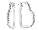 Diamond Heart Hoop Earrings in 14K White Gold (3/4 Inch)