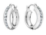 Diamond Round Huggie Hoop Earrings in 14K White Gold (1/2 Inch)