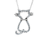 Diamond Cat Pendant Necklace in Sterling Silver with Chain