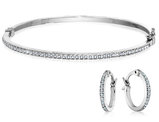 Diamond Round Hinged Hoop Earrings & Oval Hinged Bangle Set in Sterling Silver (1/2 Inch, 2 3/4 Inch)