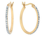 Diamond Round Hoop Earrings in Sterling Silver and 14K Yellow Gold (7/8 Inch)