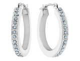 Diamond Round Hinged Hoop Earrings in 14K White Gold (3/4 Inch)