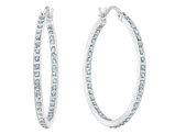 Diamond Round Hinged Hoop Earrings in Sterling Silver (1 1/4 Inch)