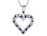 Blue Sapphire and Diamond Heart Pendant Necklace 18 Inches in Sterling Silver and Platinum with Chain