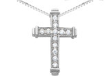 Diamond Cross Pendant Necklace 3/8 Carat (ctw) in 14K White Gold with Chain