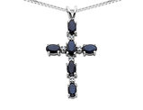 Blue Sapphire Cross Pendant Necklace 1.50 Carat (ctw) in 14K White Gold with Chain
