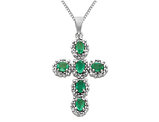Green Emerald Cross Pendant Necklace 9/10 Carat (ctw) in 14K White Gold