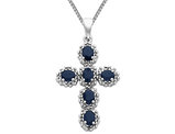 Blue Sapphire Cross Pendant Necklace 1.25 Carats (ctw) in 14K White Gold
