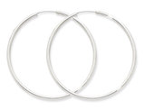 Large Hoop Earrings in 14K White Gold 2 Inch (2.00 mm)