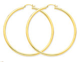 Extra Large Hoop Earrings in 14K Yellow Gold 2 1/2 Inch (3.00 mm)