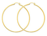 Extra Large Diamond Cut Hoop Earrings in 14K Yellow Gold 2 1/2 Inch (2.00 mm)