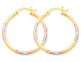 Medium Rhodium and Diamond Cut Hoop Earrings in 14K Yellow, White and Pink Gold 1 Inch (2.00 mm)