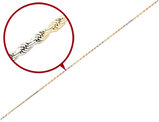 Diamond Cut Rope Chain Anklet in 14K Yellow, White and Pink Gold 9 Inches