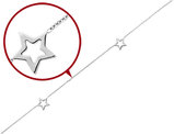 Adustable Star Anklet in 14K White Gold 9 Inches