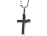 Men's Chisel Black Carbon Fiber Cross Pendant Necklace in Stainless Steel with Chain