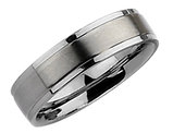 Men's Chisel 6mm Satin Stainless Steel Comfort Fit Wedding Band with Ridge