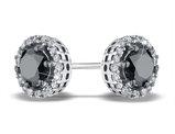 White and Black Diamond Stud Earrings 1.0 Carat (ctw) in 14K White Gold