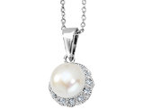 Cheryl M. Freshwater Cultured Pearl Pendant Necklace with Synthetic Cubic Zirconia in Sterling Silver with Chain
