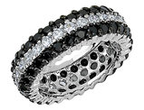 Cheryl M. White and Black Synthetic Cubic Zirconia (CZ) Eternity Ring in Sterling Silver