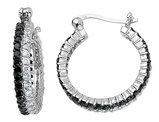 White and Black Synthetic Cubic Zirconia (CZ) Hoop Earrings in Sterling Silver