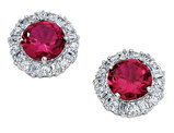 Cheryl M. Created Ruby Earrings with Cubic Zirconia (CZ) in Sterling Silver
