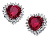 Cheryl M. Created Synthetic Ruby Heart Earrings in Sterling Silver