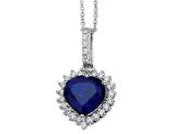 Cheryl M. Created Blue Sapphire Heart Pendant Necklace in Sterling Silver with Chain