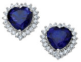 Cheryl M. Created Blue Sapphire Heart Earrings with Cubic Zirconia (CZ) in Sterling Silver