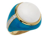 Cheryl M. Created Agate Cocktail Ring with Cubic Zirconia (CZ) in Sterling Silver with Gold Plating