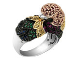 Cheryl M. Created Ruby Parrot Ring with Cubic Zirconia (CZ) in Sterling Silver with Black Rhodium Plating